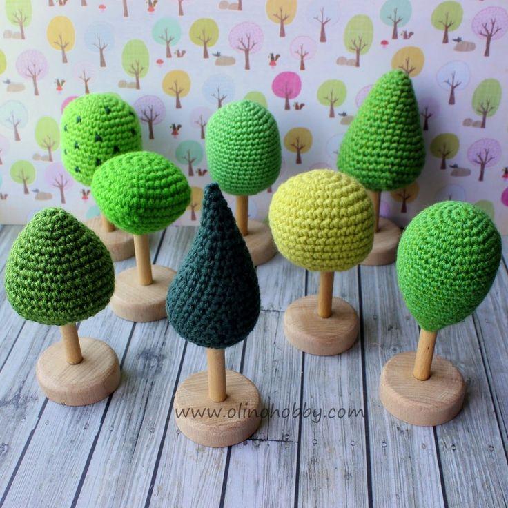 вязаное дерево, игрушечное дерево крючком, вязаные деревья на деревянной ножке