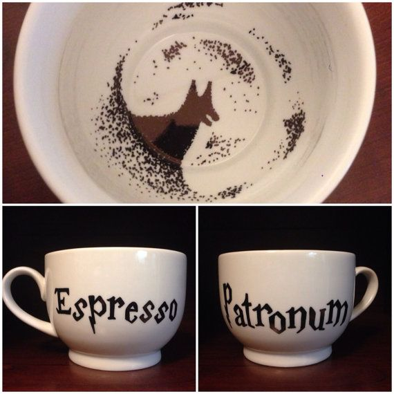 Be sure to get your patronus charge with this hand painted cappuccino mug (18 oz.), but beware because it is marked with the sign of the Grim.