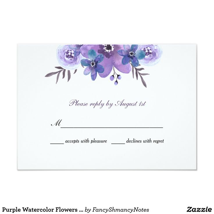 Purple Watercolor Flowers Wedding Invitation Beautiful purple flowers, with a hint of blue and silver are featured on this wedding reply card. Use the template form to add your information. The Customize feature can be used to add more text, like food choices, or to change the font style or color.