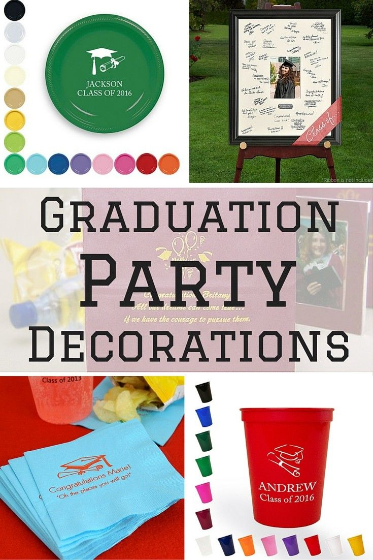 Add personality to your son or daughter's graduation party with personalized decoration ideas including napkins, cups, plates and gift bags personalized with their school mascot, 'Class Of' year and the graduate's name. Custom printed cups make awesome graduation party souvenirs guests love to take home. Personalized graduation party supplies can be ordered at http://myweddingreceptionideas.com/personalized_graduation_party_decorations_supplies.asp