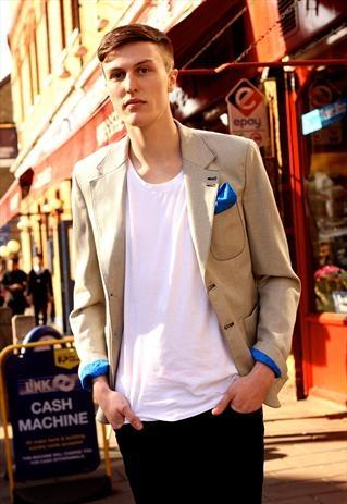 Beiger blazer jacket with silk pocket square