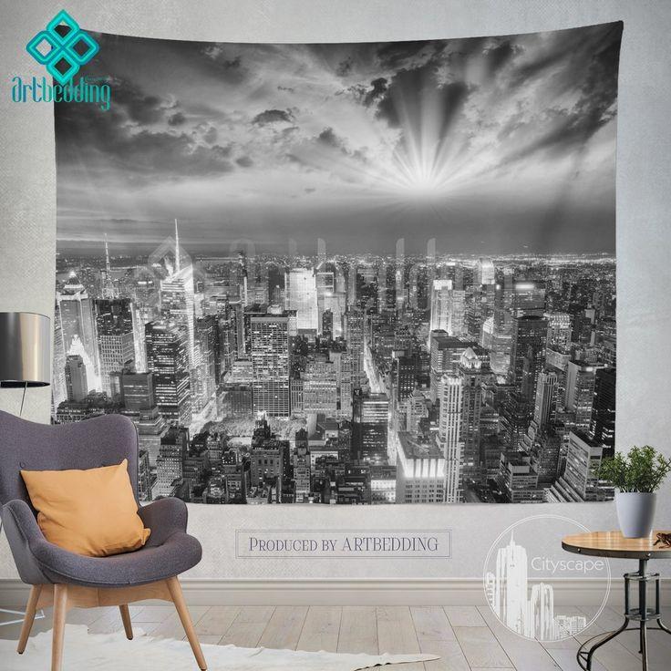 Manhattan NYC monochromatic cityscape wall tapestry, Sunset over Manhattan cityscape wall decor, New York artbedding cityscape wall decor