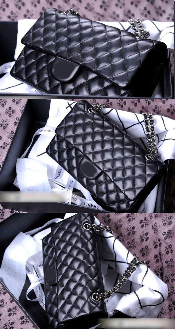 Новый 2.55 серебро / золотая цепь из натуральной кожи сумка женщин клатч багет плед откидной крышкой сумка с коробкой купить на AliExpress