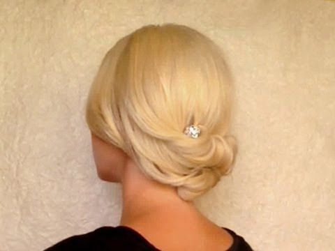 Updo hairstyle for medium short hair Rolled hair tutorial for prom wedding work office job interview