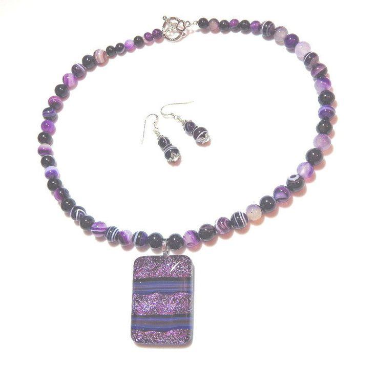 Purple Line Agate Gemstone Statement Necklace With Earrings, Gemstone Necklace, Gemstone Earrings, Dichroic Glass Pendant