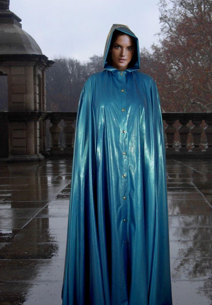 Elegant hooded pvc cape