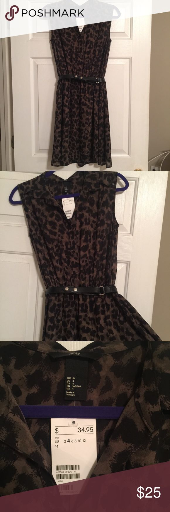 H&M Cheetah Print Shirt Dress Super cute dress in brand new condition. Include black waist belt. Sleeveless with collar and button down front. Light rayon with lining. Perfect to dress up or down! H&M Dresses Mini