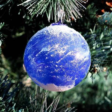 Blown Glass Earth Christmas Ornament | GlassSculptureOrg - Glass on ArtFire