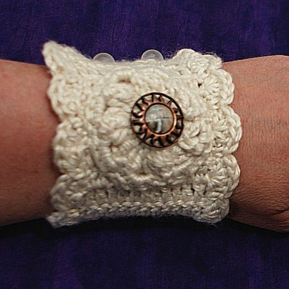 Romantic Crochet Wrist Cuff PDF Pattern. Would be very pretty with vintage jewelry accent.