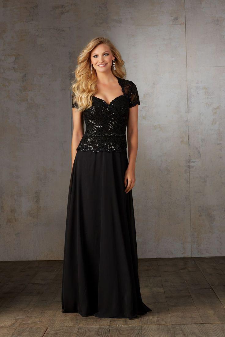 Wieczorowa suknia Mori Lee, na krótki rękaw dla mam. Efektowna suknia, z krótkim rękawem. Haftowany cekinami gorset, dodaje suknia wieczorowego …