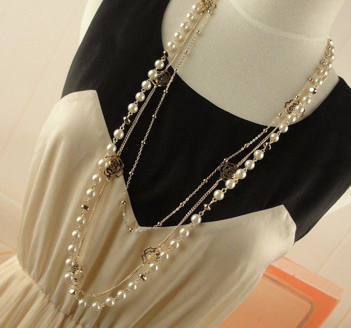 Многослойное ожерелье с золотыми цепями розами и жемчугом (в наличии) - 2
