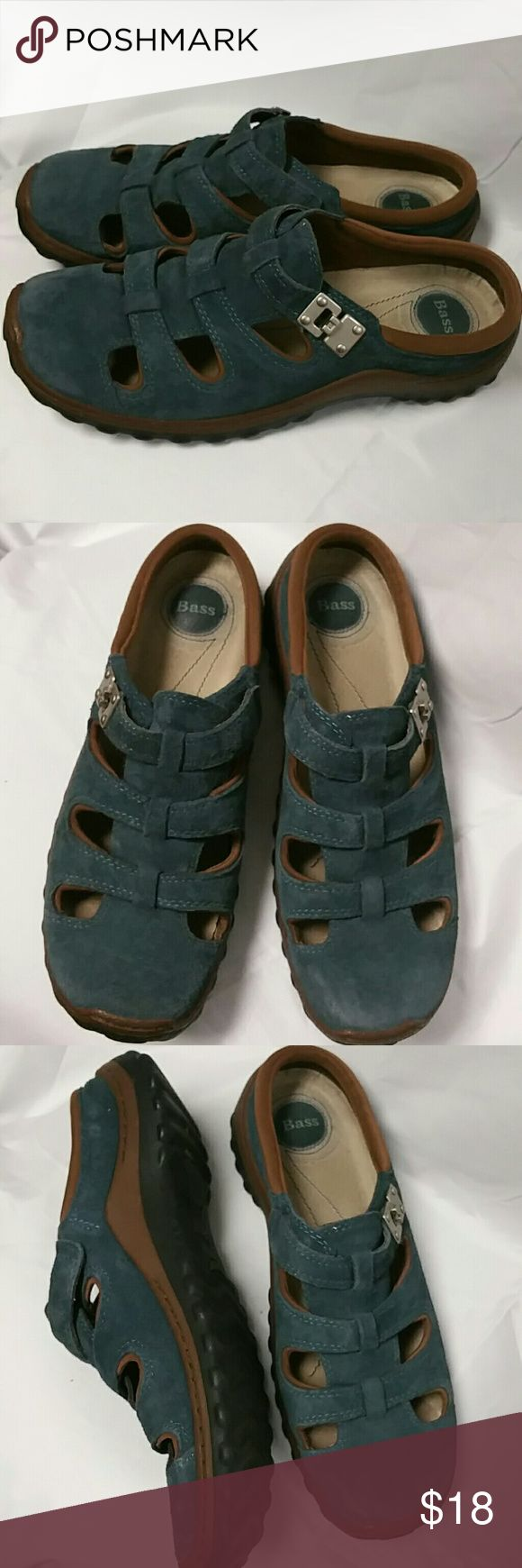 Bass blue suede adjustable slip ons. Size 7.5 Genuine suede and leather uppers  Slip on foot. Heavy rugged rubber sole. Size 7.5. These are used but very good condition. No real flaws to picture. Bass Shoes Flats & Loafers