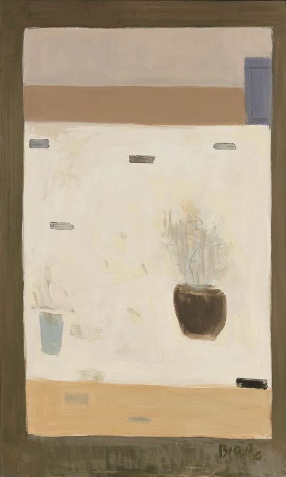 Janice Biala, Untitled (White Still Life with Flowers), Oil on canvas, 161.3 × 96.5 cm