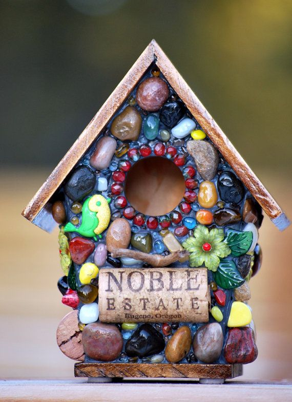 Whimsical garden birdhouse with Spring by WinestoneBirdhouses, $44.50
