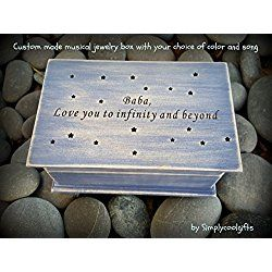 Personalized wooden music box, jewelry box with little stars with your choice of color and song