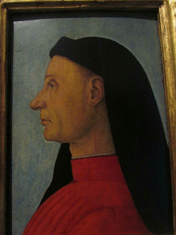 Profilo di uomo. Carpaccio o Gentile Bellini.  Accademia Carrara Bergamo.