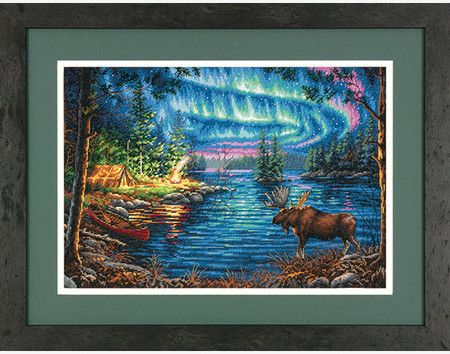 Dimensions Northern Night - Cross Stitch Kit. Wouldn't it be awesome to see this spectacular display in the sky while camping by the lakeside! Northern Night in