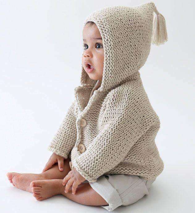 Modèle gilet à capuche en coton bébé - Modèles Layette - Phildar