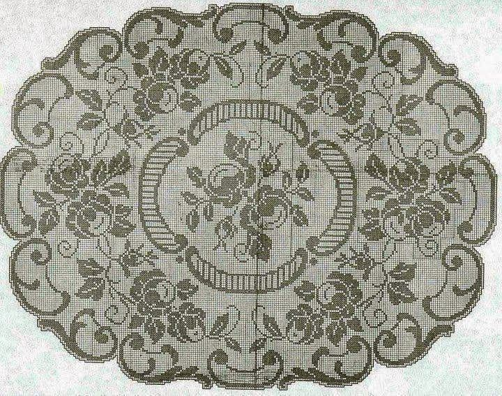Bellissimo copri tavolo con fiori e foglie | Hobby lavori femminili - ricamo - uncinetto - maglia