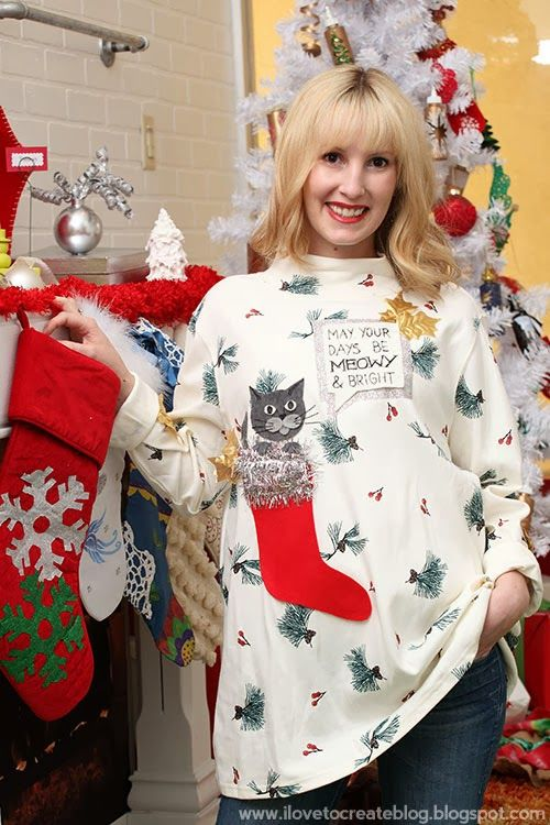 51 best ugly christmas sweater diy images on pinterest ugly may your days be meowy bright ugly sweater solutioingenieria