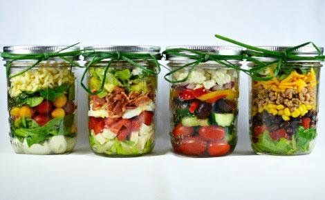 Mason jar layered salads