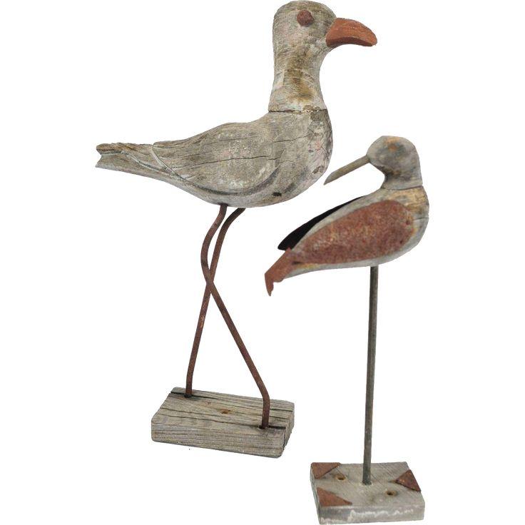 Pair of Primitive Wood Folk Art Birds on Stands www.rubylane.com #vintage #art #wood #birds #folkart #collectible