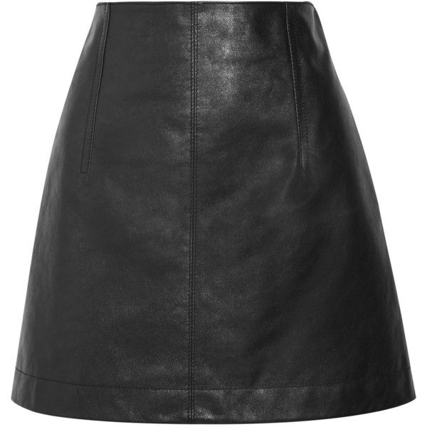 Chloé Leather mini skirt (€1.350) ❤ liked on Polyvore featuring skirts, mini skirts, chloe, a-line skirt, chloe skirt, short leather skirt, evening skirts and a line mini skirt