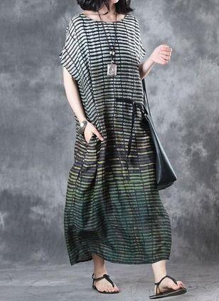 Algodão Linho Colorido Manga Muito Curta Longo Informal Vestidos de