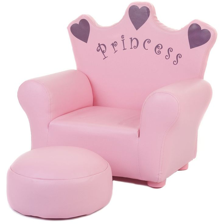 Tigris Wholesale Kids' Pink Princess Chair with Ottoman - Availability: in stock - Price: £59.99 http://chillax4u.com/products/tigris-wholesale-kids-pink-princess-chair-with-ottoman