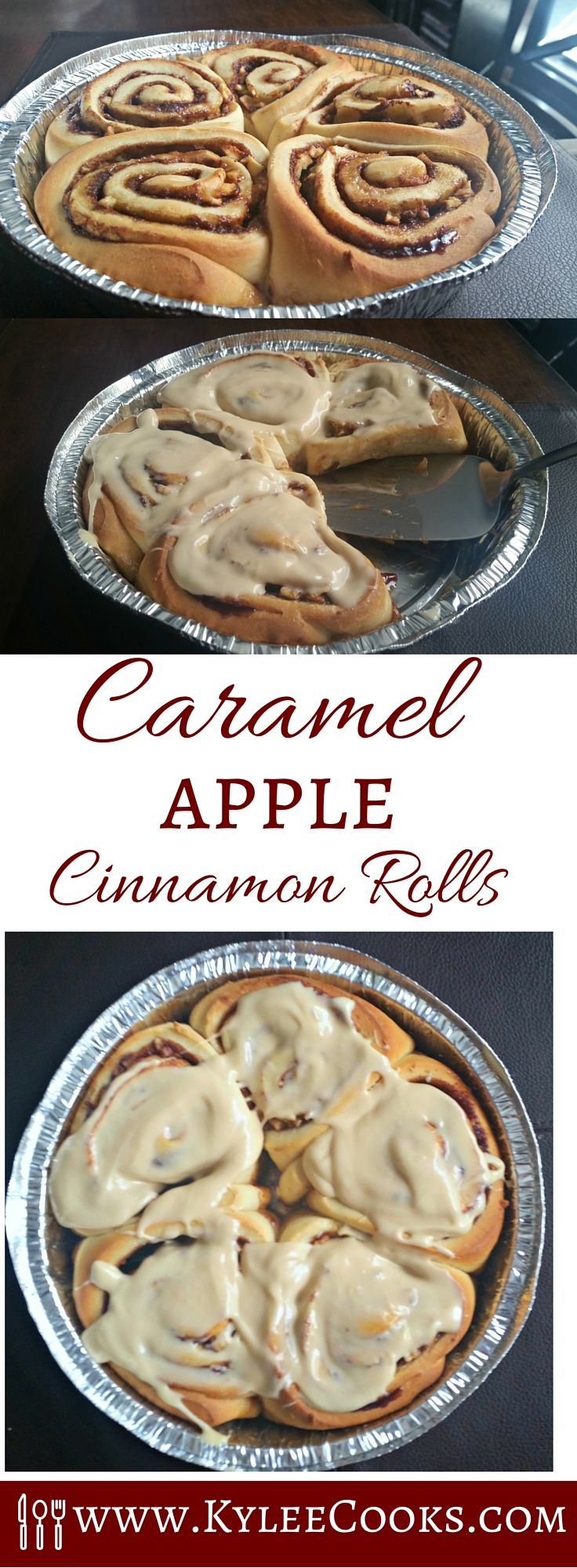 A delicious new take on an old favorite, these caramel apple cinnamon rolls are perfect for sharing.