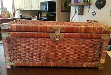 Asian Oriental Brass Hinged Rustic Wicker Basket Woven Steamer Trunk Chest VTG