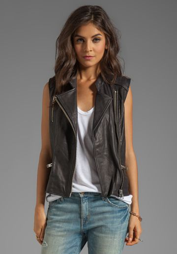 MAISON SCOTCH Leather Vest in Black