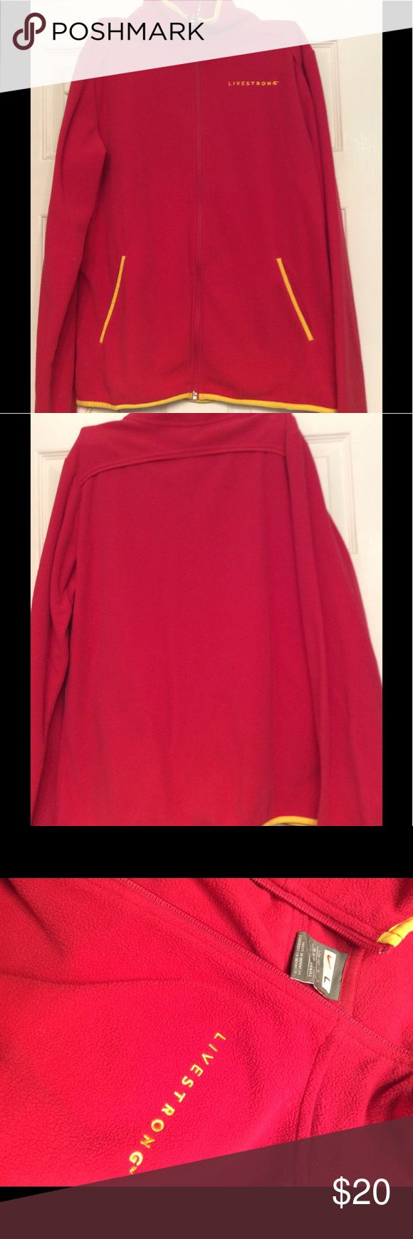 Nike Livestrong Fleece Jacket, Size Large Nike Livestrong Fleece Jacket, Size Large, red with yellow trim, in good condition. Nike Sweaters