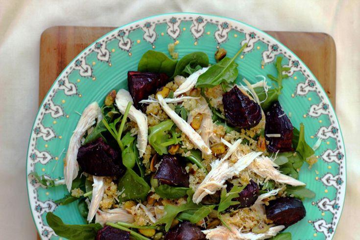 Chicken, beetroot and pistachio salad