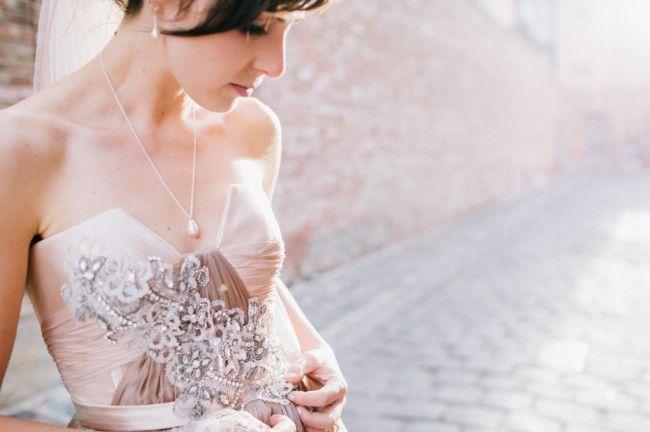 Mariana Hardwick 'Marguerite'. Blush pink wedding gown