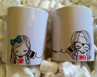 Best Friend Long Distance Coffee Mug SET TWO by SincerelyEunice