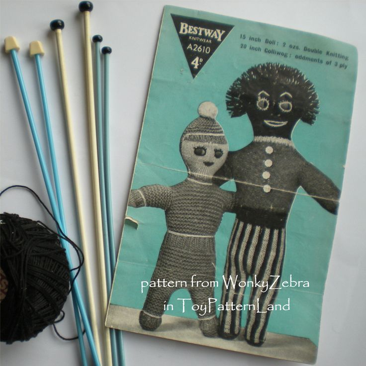 "Vintage Knitting Pattern 012 Two Funky Dolls from WonkyZebra 012 WZ012 A2610 A fabulously funky pattern for 2 very vintage knitted dolls. These interesting characters look like the ancestors of today's popular ""weird dolls""."