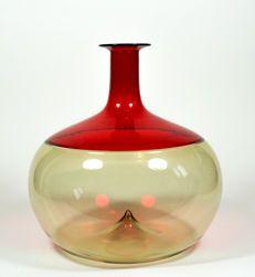 Tapio Wirkkala (Venini) - straw yellow/red Bolle vase