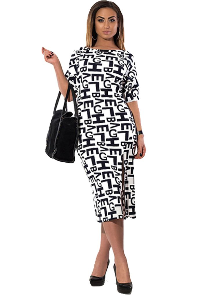 Letters Print Plus Size Women Midi Dress With Slit_Plus size Dress_Plus size Clothing_Sexy Lingeire | Cheap Plus Size Lingerie At Wholesale Price | Feelovely.com