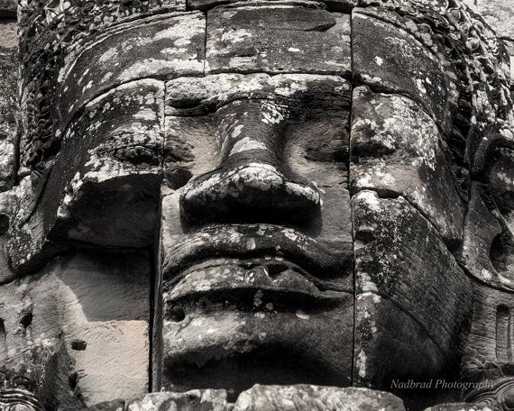 Black and White Stone Face of Cambodia Buddhist by NadbradDesigns