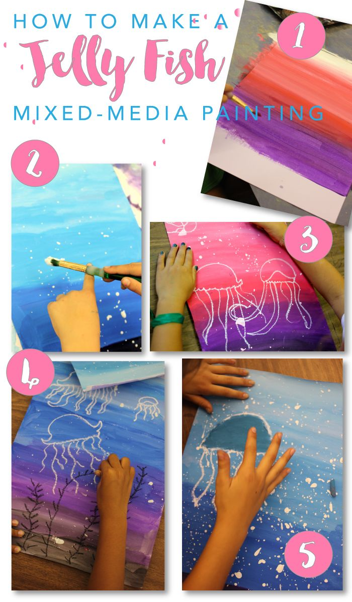 Jellyfish art project for boys and girls. Super easy drawing & painting project from Deep Space Sparkle