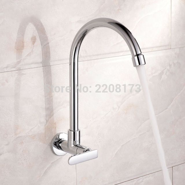 2017 Factory Direct Wholesale Simple Style Copper Chrome Finish Single Handle Wall Mounted Kitche Wall Mount Kitchen Faucet Kitchen Faucet Kitchen Sink Faucets