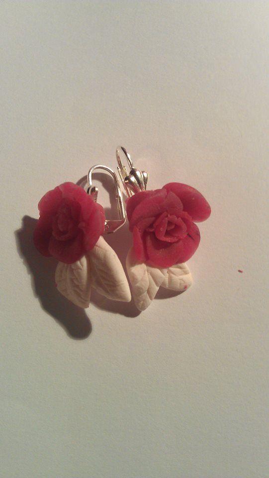 Flower clay earrings.. :)