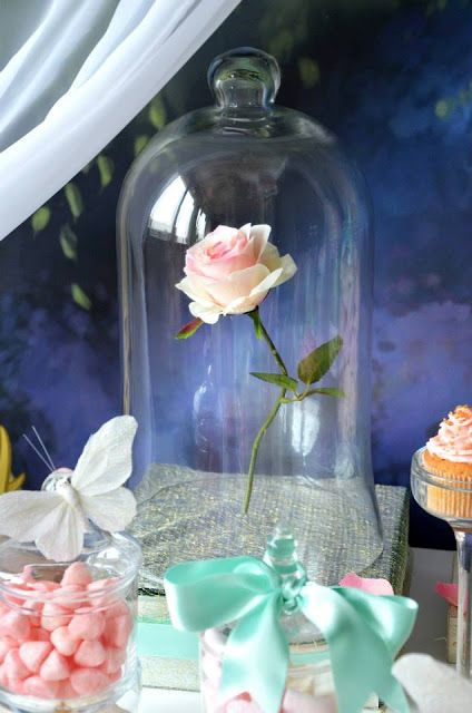 Spectacular fairytale party table - this rose in a bell jar is so enchanting!  Little Big Company