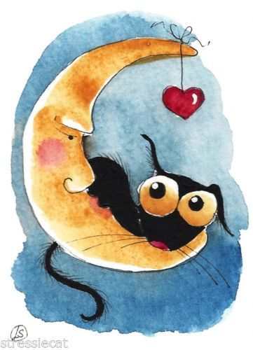 ACEO Original Watercolor Folk Art Stressie Cat Moon Heart to The Moon with Love…