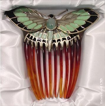 Titanic (1997) movie prop - Rose's Butterfly Hair Comb. Aventurine cabochon. In the movie this was one of the artifacts recovered from the Titanic and brought back many memories for Rose. I like the idea of such items actually containing the memories of the person who owned it and loved it. (bomby4130, 2012)