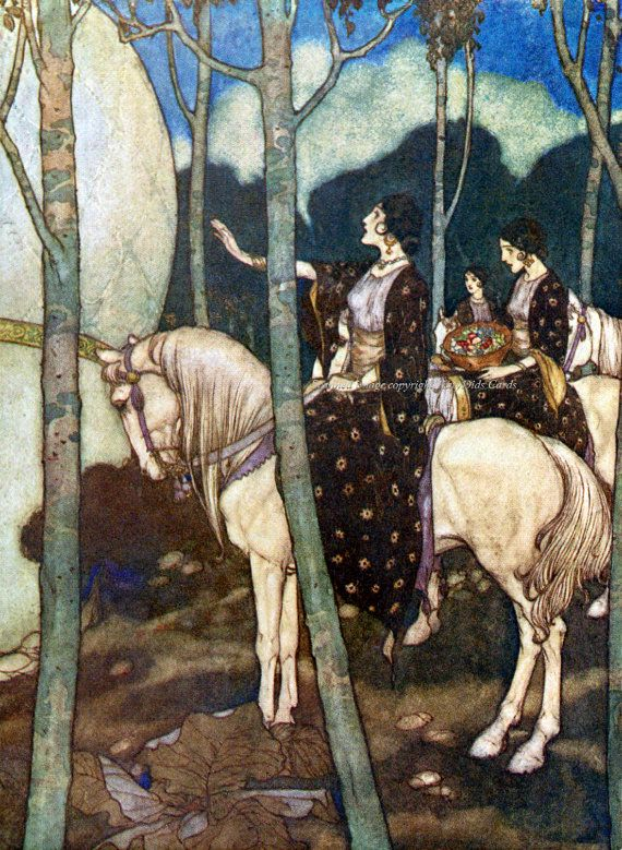 Maidens on Horses Edmund Dulac Illustration. The horse often symbolizes spirituality as it transcends earthly ties. The divine feminine principle at work in this painting.