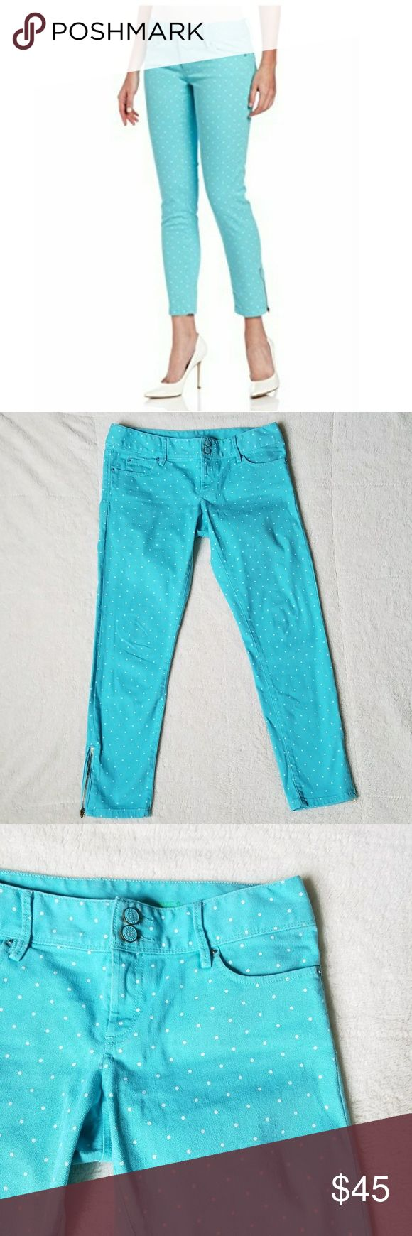 "Lilly Pulitzer Worth Skinny Mini EUC! Bright blue jeans with white polka dots from Lilly Pulitzer, pink label. These Worth Skinny Mini jeans are SOLD OUT on the Lilly website. 33"" waist, 8"" rise and 27"" inseam. Double button and zipper closure, belt loops and 5 pocket style. Zippers at the ankles. Retail new  $158. Lilly Pulitzer Jeans Ankle & Cropped"