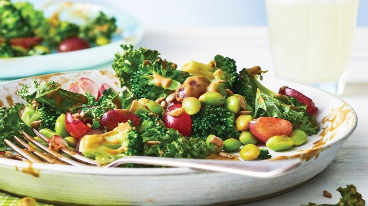 Green Power Salad with Avocado Dressing