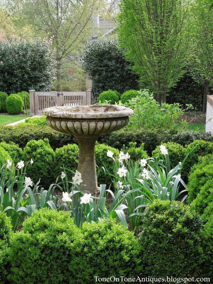 Garden with bird bath. | Dering Hall Landscape Garden